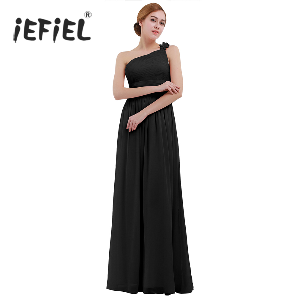 Black dress for prom night - 2017 Ladies Clothes Formal Summer Party Dress Women Chiffon One Shoulder Brides Maid Elegant Dress Long Night Weeding Prom Gown
