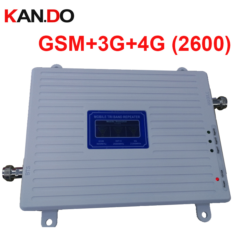 Triband GSM 2G 3G WCDMA 4G BAND7 LTE 4G Booster 22dbm 65dbi LCD Display 2600mhz FDD Booster Repeater 2G 3G 4G Booster Repeater