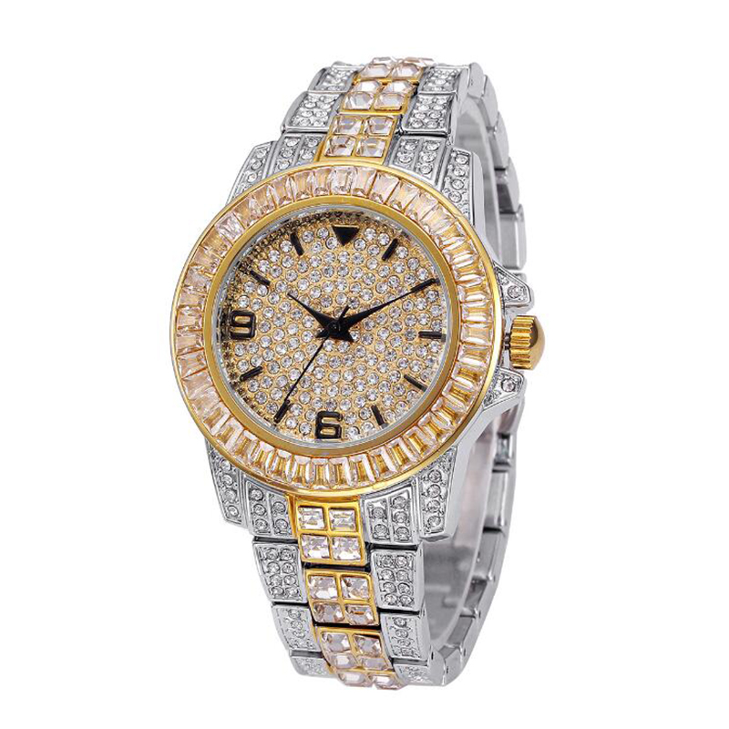 Hip Hop AAA Iced Out Watch Quartz For Women Full Diamond Waterproof Round Watches Clock Metal Strap Mens Wristwatch W0002Hip Hop AAA Iced Out Watch Quartz For Women Full Diamond Waterproof Round Watches Clock Metal Strap Mens Wristwatch W0002