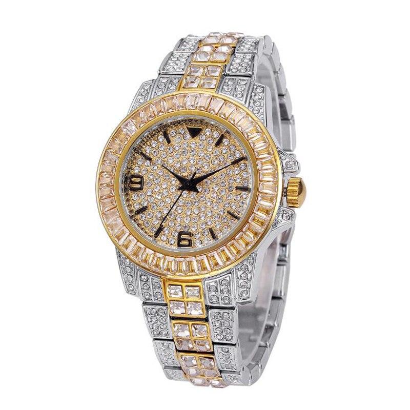 Hip Hop AAA glacé montre à Quartz pour femmes complet diamant étanche montres rondes horloge bracelet en métal montre-bracelet pour hommes W0002