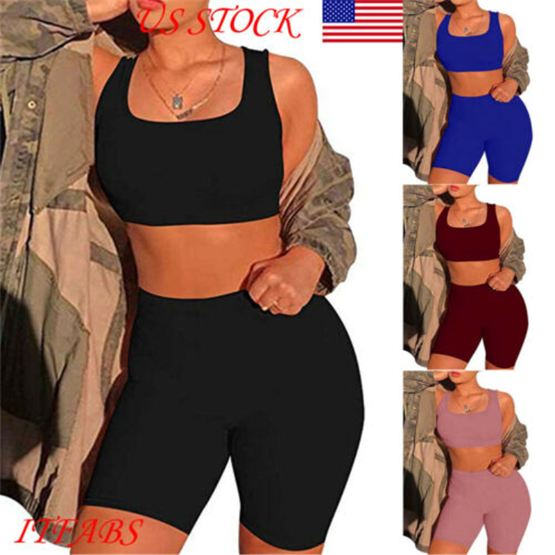2019 Sexy Skinny Short Two Piece Set Crop Tops And Biker Shorts Multicolor Bodycon Matching Sets Summer Clothes For Women