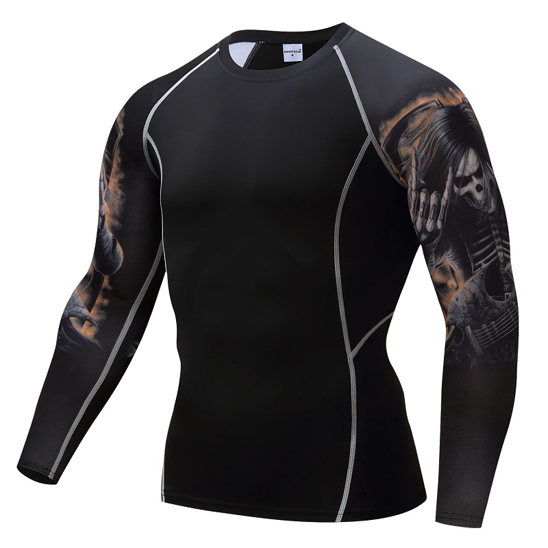 MMA Compression shirts Men Rashguard Keep Fit Fitness T shirts Elastic Base Layer Skin Tight Weight Lifting Crossfit Tops Tees