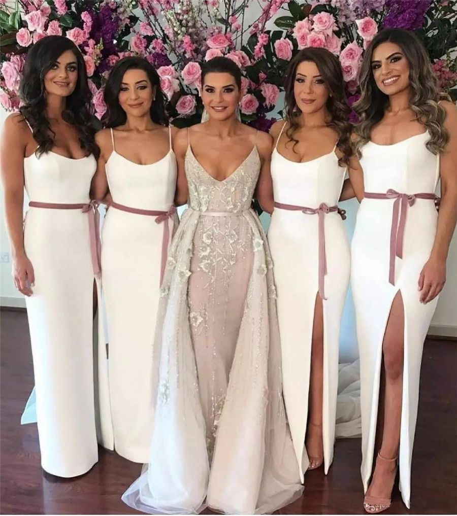 Graceful White Sheath Long Bridesmaid Dresses Side Split Spaghetti Strap Floor Length Formal Dress 2019 Robe De Soiree Cheap