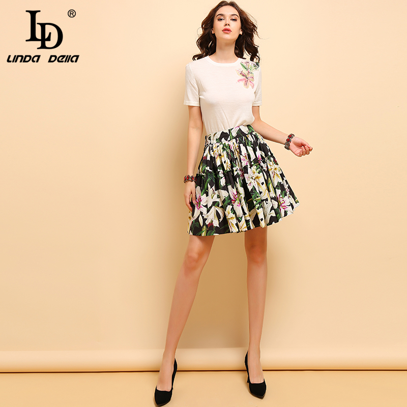 LD LINDA DELLA Fashion Summer Cotton Suits Women Casual Appliques Sequined Tops Elegant Pleated Floral Print Skirt 2 Pieces Set in Women 39 s Sets from Women 39 s Clothing