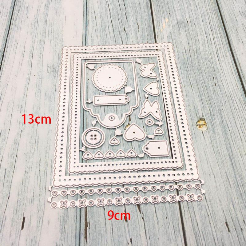 Metal Cutting Dies Butterfly Heart Tag Button Set Lace Border Crafts Die Cuts Stencil For Scrapbooking DIY Paper Cards Template