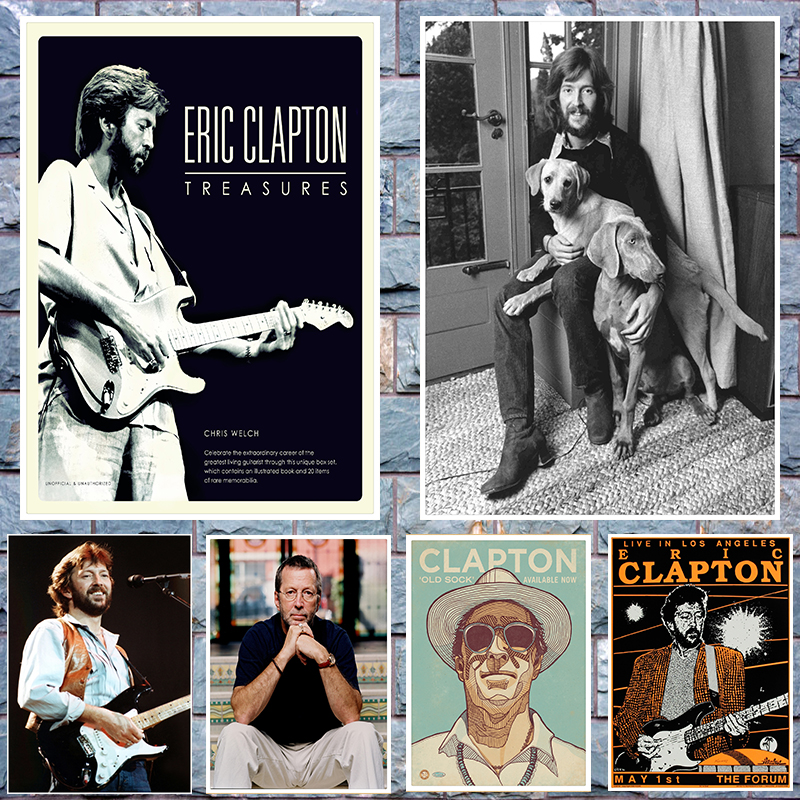Eric Clapton Poster Clear Image Wall Stickers Home Decoration Good Quality Prints White Kraft Paper Home Art Brand
