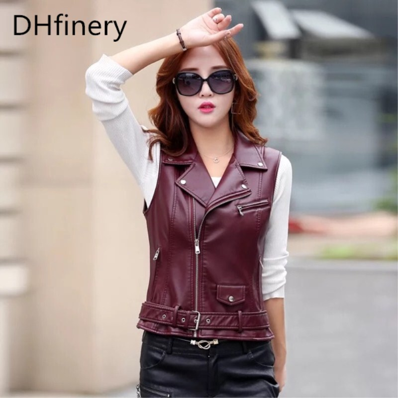 leather   jacket women spring and autumn fashion Short paragraph PU   leather   jackets Slim motorcycle   leather   vest coat k6605