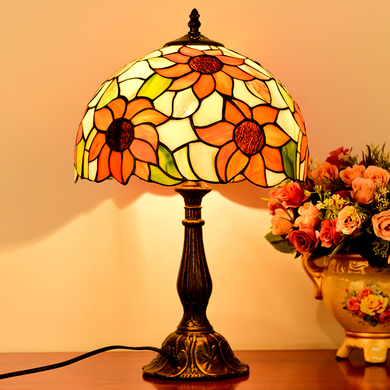 American tiffany style stained glass sunflower pendant light for bedroom bedside lamp garden study lamp tiffany baroque sunflower stained glass iron mermaid wall lamp indoor bedside lamps wall lights for home ac 110v 220v e27