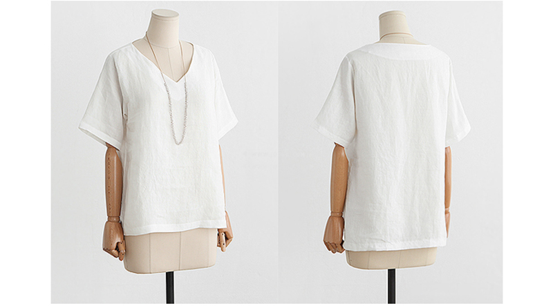 aab4b5d2506ac9 New Fashion V-neck T Shirt Women Flax Basic Female TShirt Summer White Sexy  TShirt Women Cotton Vintage Loose Thin T Shirts XXXL