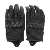 Men Motorcycle Gloves Outdoor Sports Full Finger Motorcycle Riding Protective Armor Black Short Leather Gloves Free