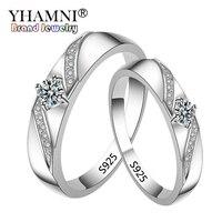 Большой 95% скидка! YHAMNI оригинальный чистый 925 Серебряные кольца для Для женщин и Для мужчин ювелирные изделия с фианитами Обручение свадебны