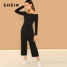 43532811f30 SHEIN Black Casual Off Shoulder Tie Solid Wide Leg Long Sleeve Mid Waist  2018 Autumn