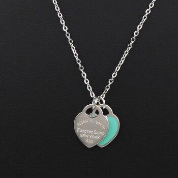 Collier amour pour femmes bouteilles en mail collier Double c ur en acier inoxydable vente en