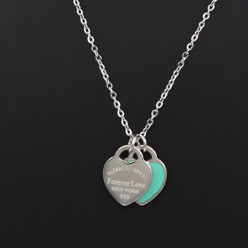 Новое поступление Любовь Двойное сердце Эмаль Ladie FOREVER LOVE ожерелье из нержавеющей стали Дрифт украшения для бутылок Оптом подарок для женщин