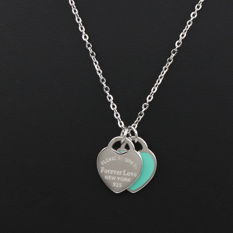 Neue Ankunft Liebe Doppel Herz Emaille Ladies FÜR IMMER LIEBE Edelstahl Halskette Drift Flaschen Schmuck Großhandel Geschenk Für Frauen