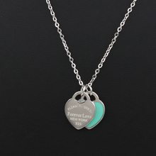 New Arrival Love Double Heart Enamel Ladie FOREVER LOVE Stai
