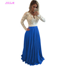 Plus Size Long Sleeves Prom Dresses A Line V Neck Long Chiffon Evening Dress Lace Appliqued Pearl Sheer Back Formal Gowns цена в Москве и Питере