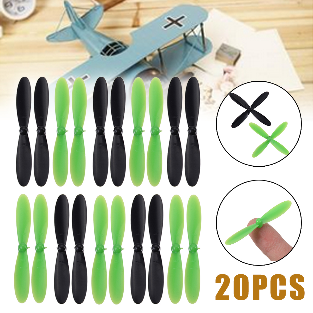 Mayitr 20Pcs/set Propeller Blade Rotor Blades Propellers Props RC Spare Part For Hubsan X4 Quadcopter Motor H107L H107C