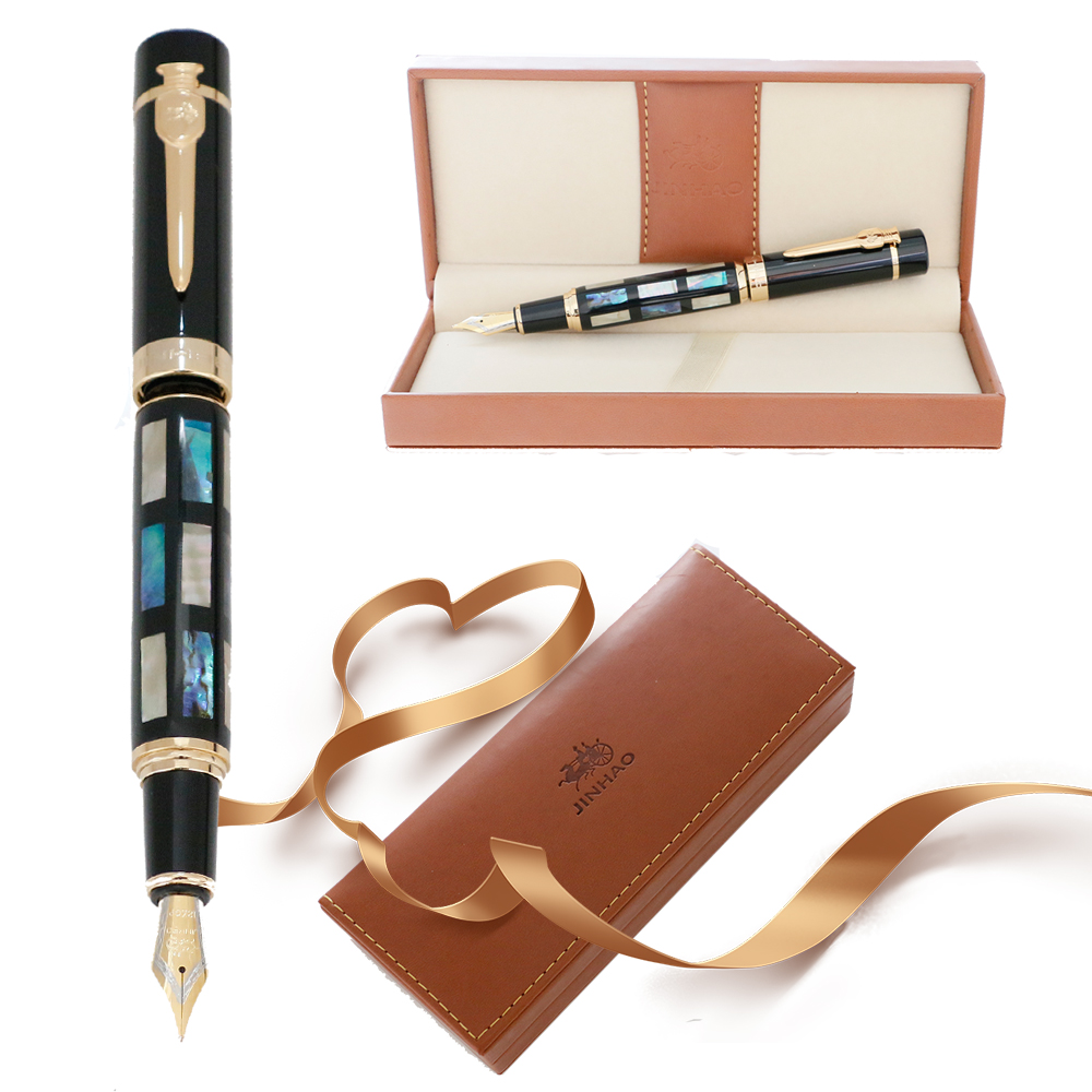 JinHao 650 or 8802 Fountain Pen Luxury Shell Carving Mb or Calligraphy Nib Ink Pen for Writing stationery School office supplies
