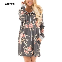 LASPERAL 2017 Autumn Women Fashion Hooded Dress Long Sleeve Hoodies Dress With Pockets Floral Print Long