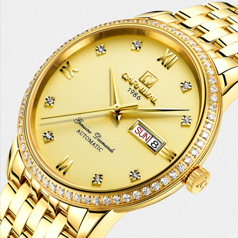 Top brand Carnival New Luxury Business Gold Mens Watches Automatic Watch Men Week Date Sapphire Waterproof mechanical watches wrist switzerland automatic mechanical men watch waterproof mens watches top brand luxury sapphire military reloj hombre b6036