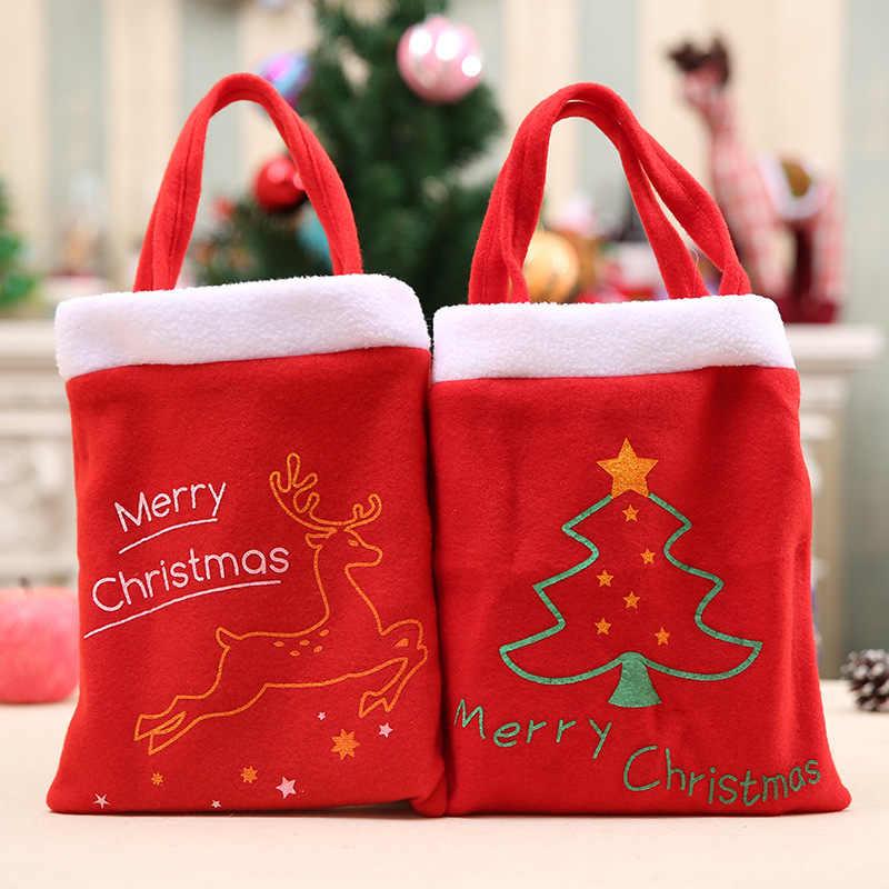 2019 красная цветная Рождественская елка Санта-Клаус Снеговик узор конфеты сумка для дома вечерние украшения Подарочная сумка Рождественские принадлежности