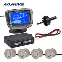 AOSHIKE Blue Screen LCD Display Parking Sensor Small Square Radar 4 Sensors Monitor Detector System 12V Auto Reverse Backup