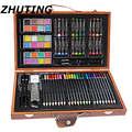 84 pcs Art Schilderijen Set van Basic Aquarel Pennen Art Marks Houten Box Set Kleur Potloodschets Aquarel Art set