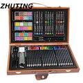 84 piezas de pinturas artísticas conjunto de bolígrafos de acuarela básicos marcas de arte caja de madera juego de lápices de colores dibujo de acuarela arte conjunto