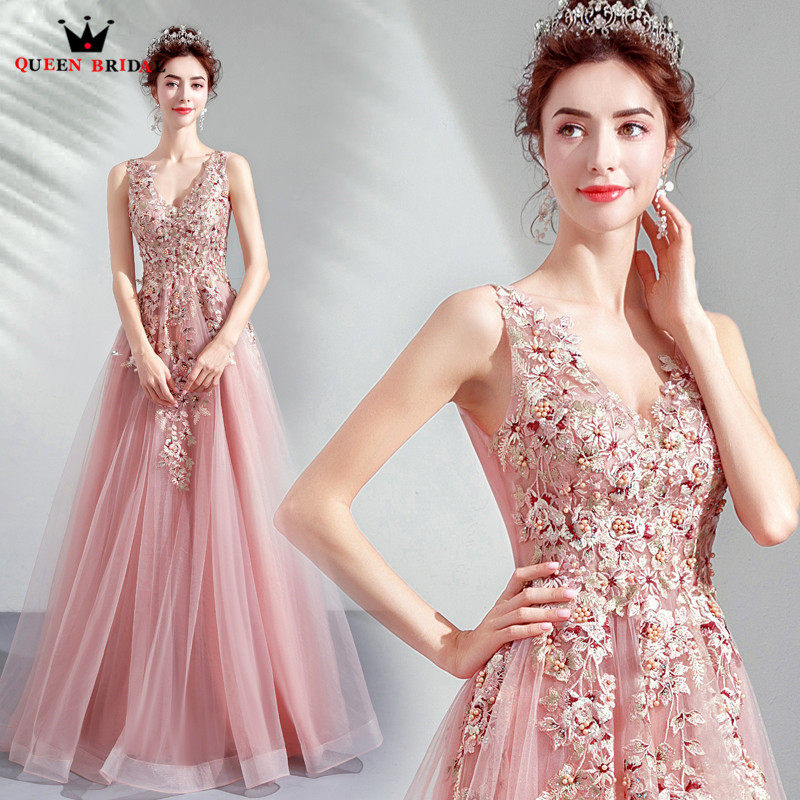 Pink A line V neck Tulle Lace Pearls Evening Dress Elegant Long Formal 2019 New Arrival
