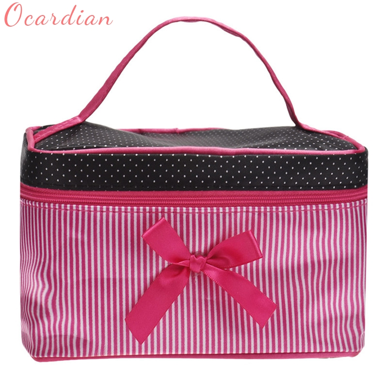 Women Makeup bag Top Quality New Arrivals Square Bow Stripe Cosmetic Bag Cases Bolsa de cosmeticos 17May17