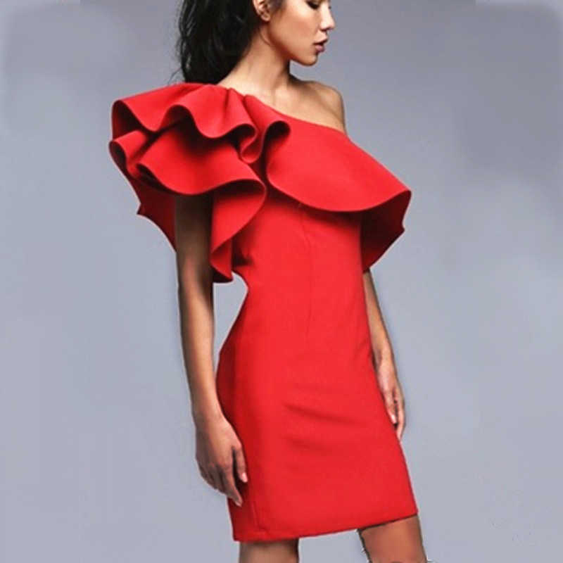9651866fe5 Bigsweety Women Sexy One-Shoulder Ruffle Flouncing Bodycon Dress Women Slim  Solid Color Fashion Party