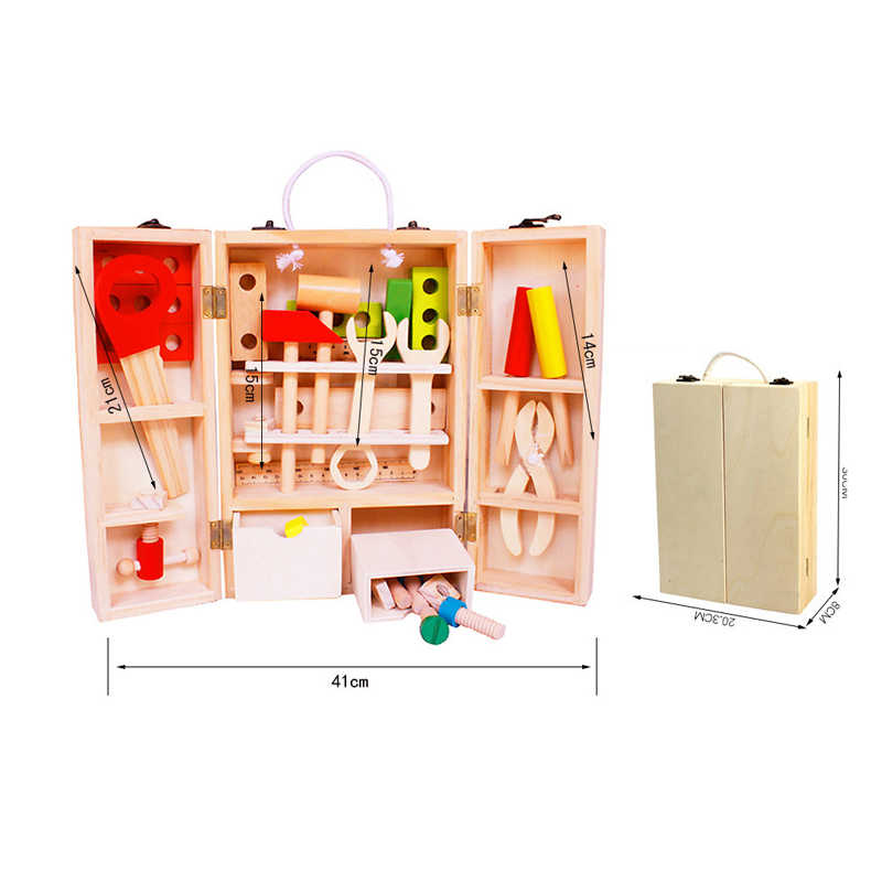 Baby Wooden Working Tool Toys Set Children Nuts And Bolts Wooden Box Garden Tool Toys Educational Gift