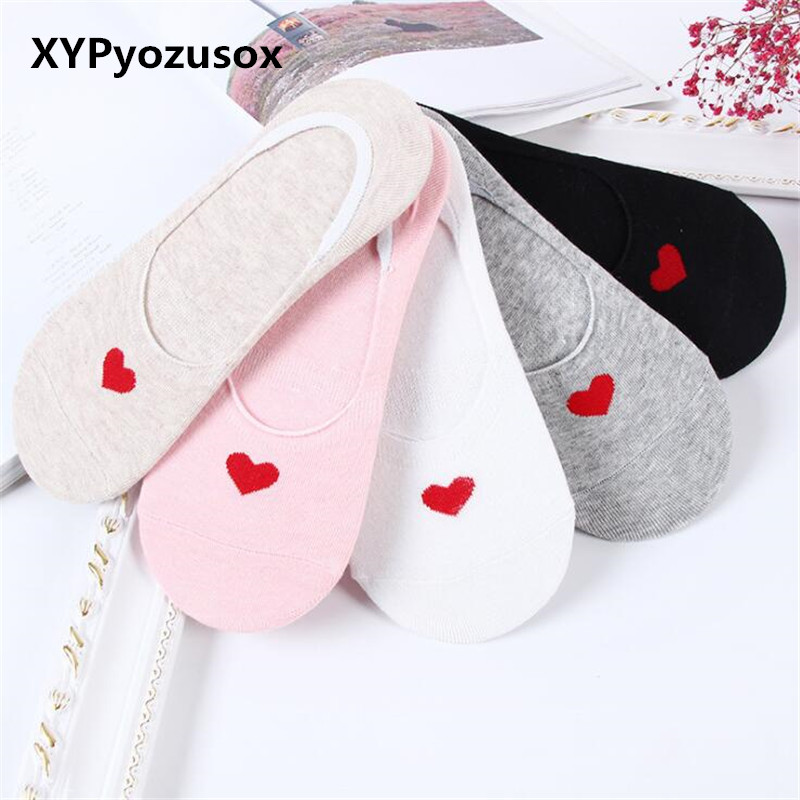 Spring Autumn Red Heart Love Women Cotton Socks Cute Heart Heel Harajuku Ankle Low Female Short Boat Silicone Invisible Socks
