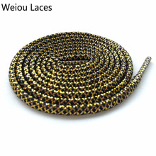 Weiou two color shoe laces gold metallic shoelaces strings white round trainer 137cm/54