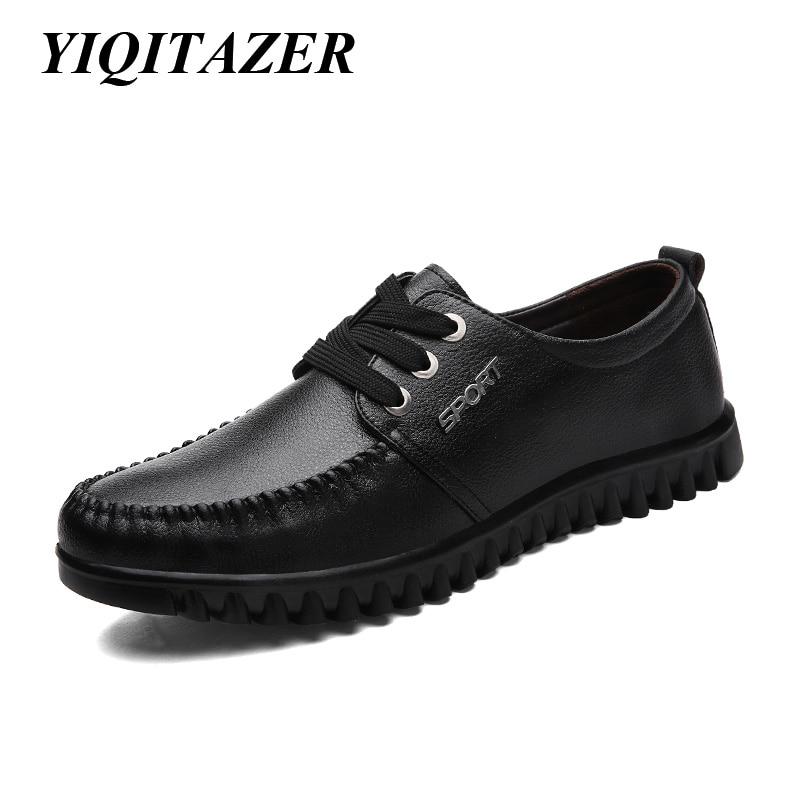 YIQITAZER 2017 Sommerleiligheter Herresko Platform Sko Mann, Mote Forretningsmerke Formelle svarte sko Lær Mann størrelse 7 -9,5