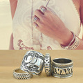 2015 New Vintage Rings 4 pcs Set Bohemian Silver Wedding Rings For Women Aneis Bijoux Je.welry R2052