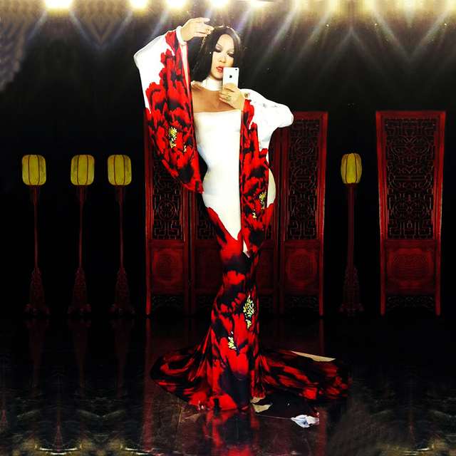 Sexy Red Flower Pattern Printed Dress Nightclub Show One-piece Bar Stage Catwalk Costume Birthday Celebrate Performance Clothin