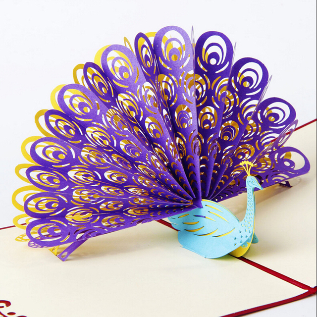 1Pcs Hot Sale Animals Peacock Greeting Card 3D Pop Up Birthday Child Handmade Paper Art Carving