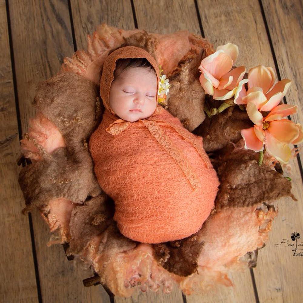 18 unids/set, foto recién nacido Prop, elástico de punto mohair envuelve acrílico elástico cocoon accesorios de fotografía prop