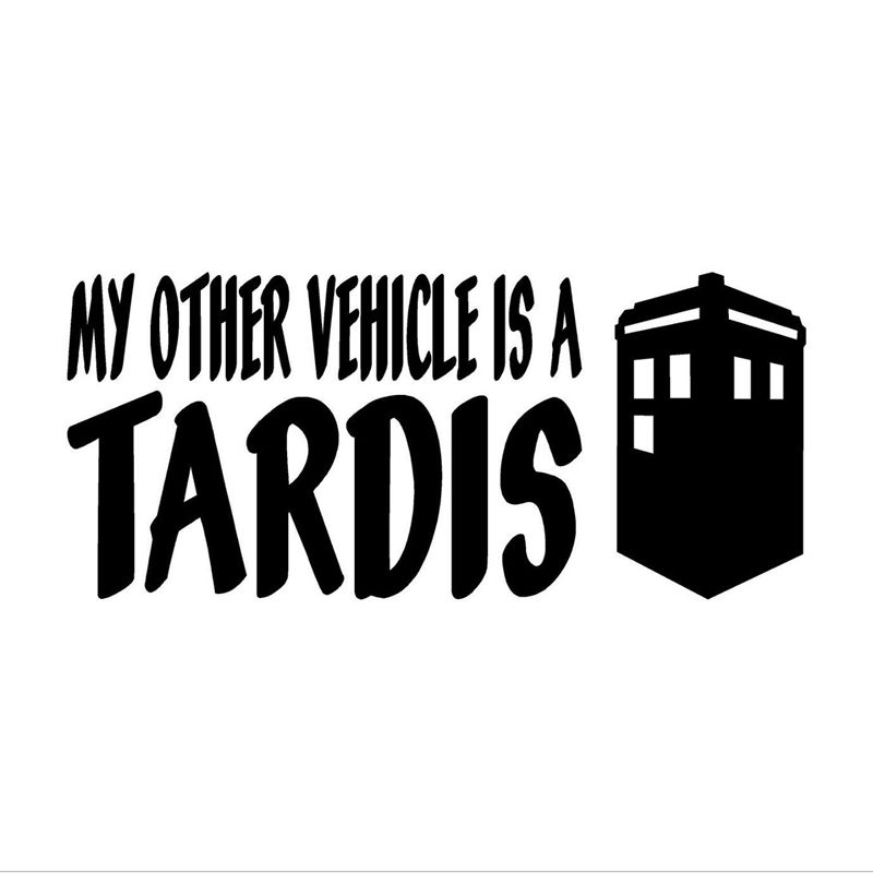free shipping MY OTHER VEHICLE IS A TARDIS Doctor Who Decal Car Window Bumper Sticker w/Tardis old antique bronze doctor who theme quartz pendant pocket watch with chain necklace free shipping