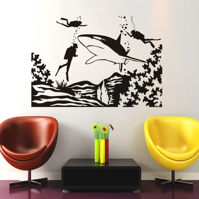 Hot sale DIY Divers and Shark Sticker for childrens room Sticker Decoration Living Room  ...