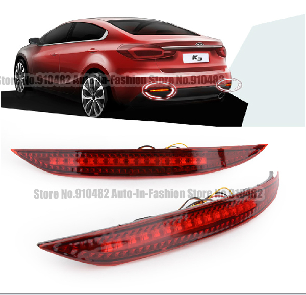 Car Red Len Rear Bumper Reflector LED Stop Brake Light Tail Fog Parking Lamp for Kia K3 Cerato Forte 2012 2013 2014  clear smoke red lens motorcycle red led brake stop rear fender tip tail light indicator lamp for harley breakout fxsb 2013 2016