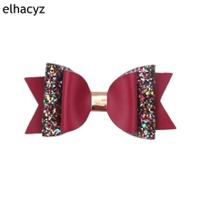 Retail 1PC 2019 New Glitter Leather Bows with Clips 10.5CM Hairpin for Girls Hair Accessory Muti-Layer Headwear