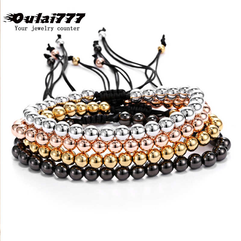 2019 wholesale stainless steel men beads for bracelets mens bangles women girl bead Rose gold charm chain link bracelet jewelry