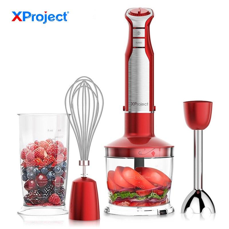 Mélangeur à main d'immersion puissant XProject 6 vitesses mélangeur à main 800 W 4-en-1 avec robot culinaire Smoothie Bar mélangeur à fruits