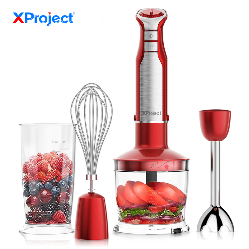 XProject 6 Speed Powerful Immersion Hand Blender 800W 4-in-1 Hand Blender mixer with Food Processor Smoothie Bar Fruit Blender bpa 3 speed heavy duty commercial grade juicer fruit blender mixer 2200w 2l professional smoothies food mixer fruit processor