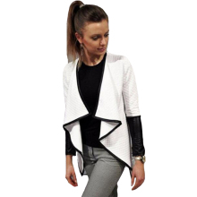 Spring 2016 Casual Cardiagn Women Black White Irregular Women Jacket Long Sleeve Coats Lapel Slim Stylish Women Sexy Outerwear