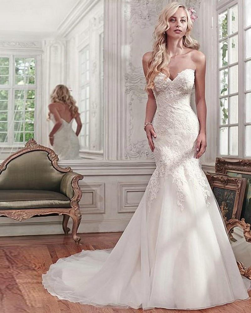 Vestido De Noiva Vestido de Novia Sirena Cariño Tribunal Tren Sin ...