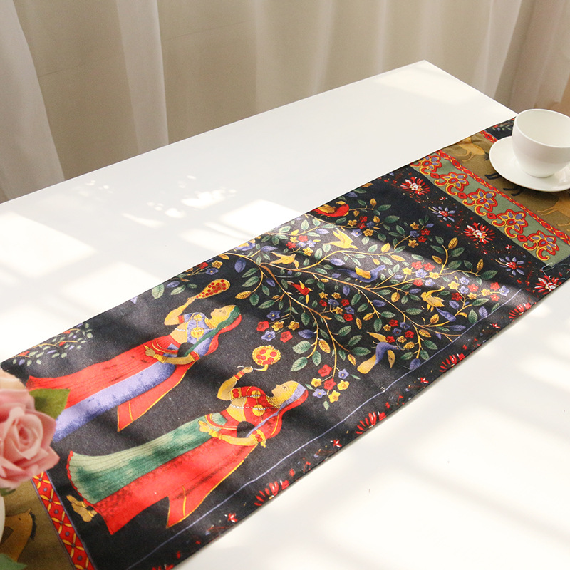 Table Runner European Style Black Luxury Tassel People&horses Table Flag Party Banquet Wedding Decoration Events Supplies 6sizes